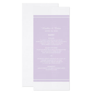 Purple Simply Elegant Wedding Menu Card
