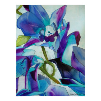 Purple Singapore Orchid flower watercolor art Poster