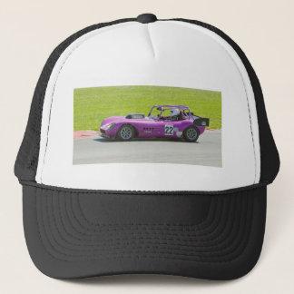 Purple single seater racing car trucker hat