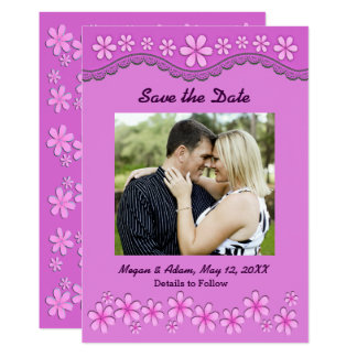 Purple Six Petal Pink Flowers Save the Date Card 13 Cm X 18 Cm Invitation Card
