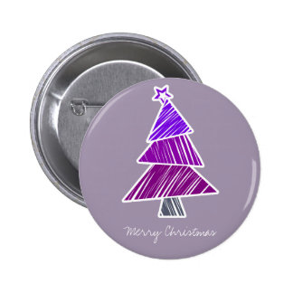 Purple Sketchy Christmas Tree Button