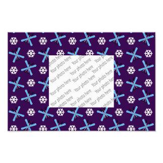 purple skis and snowflakes pattern art photo