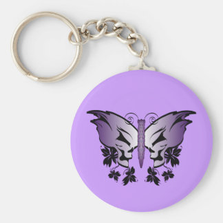 Purple Skull Butterfly Basic Round Button Key Ring