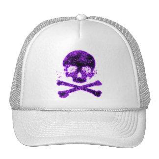 purple skull head with crossbones hats