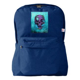 Purple skull+sharks on American Apparel backpack