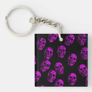 purple skulls square acrylic key chain