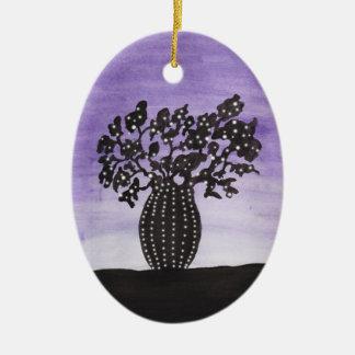 Purple Sky Baobab Tree Ceramic Ornament