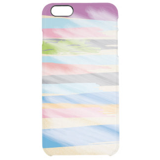 Purple, Sky Blue, Gray, Coral and Pink Stripes Clear iPhone 6 Plus Case
