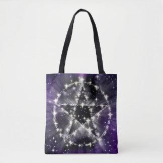 Purple Sky Shiny Pentacle Pentagram Wiccan Tote Bag