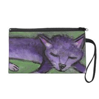 Purple Sleeping Kitty Wristlet