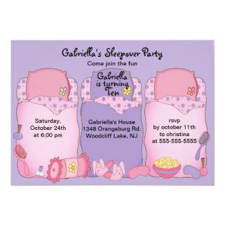 Purple Slumber Birthday Party 13 Cm X 18 Cm Invitation Card