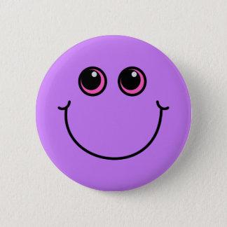 Purple Smiley Face 6 Cm Round Badge