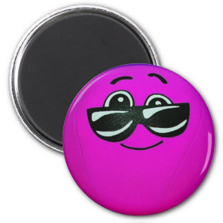 Purple Smiley Faces with Sunglasses Magnet