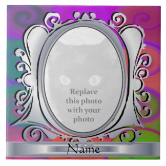 Purple Snails Oval Photo Frame with Name Tile