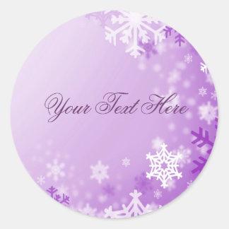 Purple Snowflake Christmas Envelope Sticker/seal Round Sticker