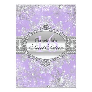 """Purple Snowflake Winter Wonderland Sweet 16 Invite 4.5"""" X 6.25"""" Invitation Card"""