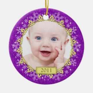 Purple Snowflakes Baby s First Christmas Photo Christmas Tree Ornament