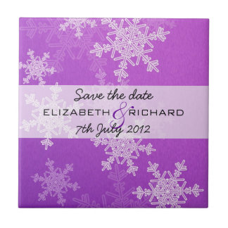 Purple Snowflakes Christmas Save the date Tile