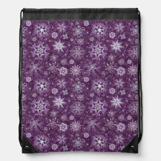 Purple Snowflakes for Chronic Pain Drawstring Bag