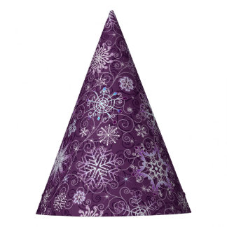 Purple Snowflakes for Chronic Pain Party Hat
