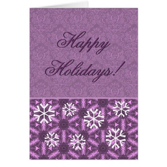 Purple Snowflakes - Happy Holidays! Card