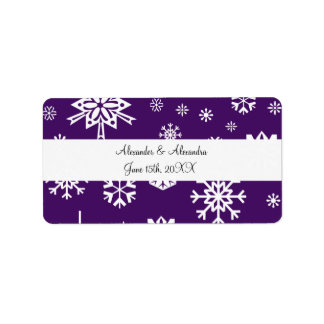 Purple snowflakes wedding favors address label