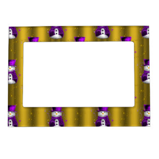 Purple Snowman on Gold Christmas Magnetic Picture Frame