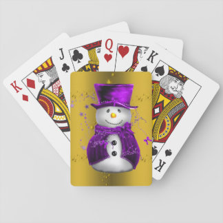 Purple Snowman on Gold Christmas Playing Cards