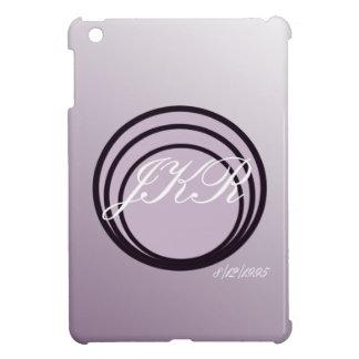 Purple soft tones monogram text (white) & date cover for the iPad mini