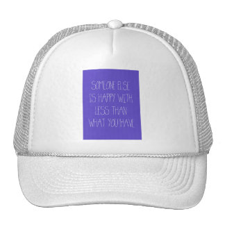 PURPLE SOMEONE ELSE IS HAPPY WITH LESS THAN WHAT Y TRUCKER HAT