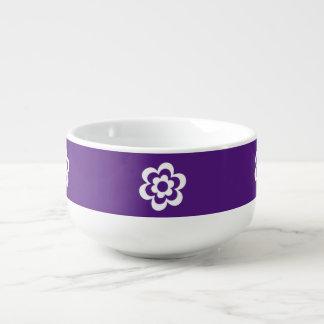 Purple Soup Mug With White Flower