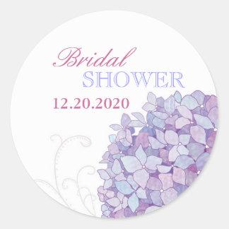 Purple Southern Hydrangeas Bridal Shower Classic Round Sticker
