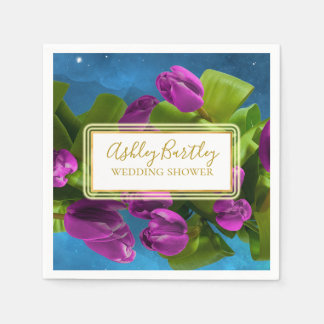 Purple Space Tulips and Glowing Label Disposable Napkins