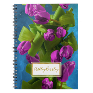 Purple Space Tulips and Glowing Label Notebook