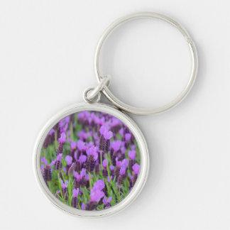 Purple Spanish Lavender Flower Key Ring