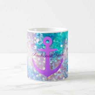 Purple Sparkle Anchored Faith Coffee Mug