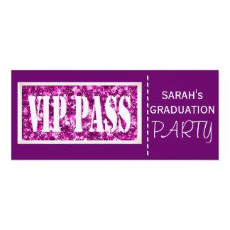 Purple sparkle Graduation party 10 Cm X 24 Cm Invitation Card