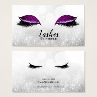 Purple Sparkle Makeup Eyelashes Lashes Silver Business Card