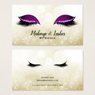 Purple Sparkle Makeup Glamour Eyelashes Lashes Business Card