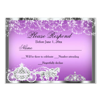 Purple Sparkle Princess Theme RSVP Reply 11 Cm X 16 Cm Invitation Card