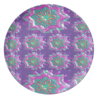 PURPLE Sparkle Star Pattern Goodluck Holy fun GIFT Plate