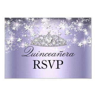 Purple Sparkle Tiara & Stars Quinceanera RSVP Announcement