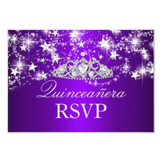 Purple Sparkle Tiara & Stars Quinceanera RSVP Custom Announcement Cards