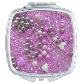 Purple Sparkles and Love Hearts Vanity Mirror