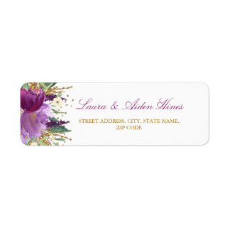 Purple Sparkling Amethyst Wedding Address Labels