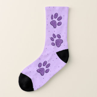 purple sparkling cat paw pring - socks 1