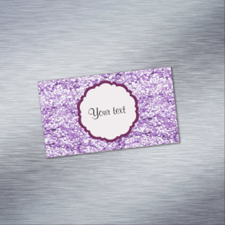 Purple Sparkly Glitter Magnetic Business Cards