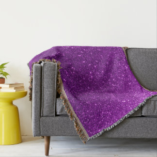 Purple Sparkly Glitter Throw Blanket