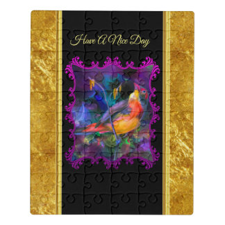Purple sparrow with a gold foil and black texture jigsaw puzzle