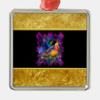 Purple sparrow with a gold foil and black texture metal ornament